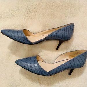 Nine West Blue Snakeskin Heels